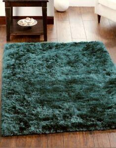 Origins Shimmer Forest Green Lustrious Silky Shaggy Rug 80 x 150cm