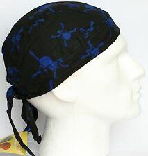 Mens Fitted Bandana Zandana Headscarf Wrap Easy Tie Black Blue Skull Crossbones