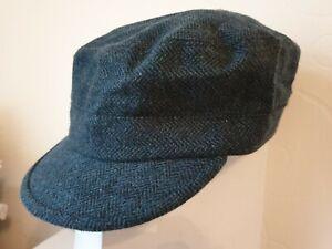 New Mens Womens Blue/Black WOOL Blend Army Military Train Driver Hat S/M M/L UK