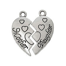 10 Mother Daughter Heart Love Antique Silver Charms Pendants 20mm x 24mm (707)
