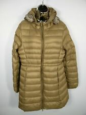 WOMENS PUFFA QUILTED OUTERWEAR LIGHT BROWN PADDED HOODED JACKET COAT SIZE L