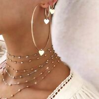 3Pcs/Set Women Charm Heart Big Round Hoop  Drop Dangle Earrings Jewelry Gift New