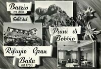 Cartolina Saluti da Barzio, rifugio e stelle alpine - Lecco, 1957