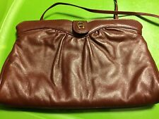 "ETIENNE AIGNER Women's Leather Burgundy Cross-Body / Clutch Bag  Medium 10.5""X7"""