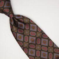 Sambrook Witting Mens Silk Necktie Black Brown Blue Green Red Geometric Print