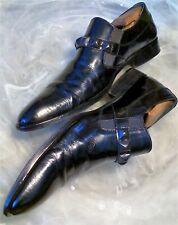 ROCK & REPUBLIC Men's 10.5 M Black Leather Studded Monk Strap Loafers Spain