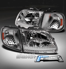97-03 F150/97-02 EXPEDITION CHROME/AMBER CRYSTAL HEAD LIGHT +BLUE DRL LED SIGNAL