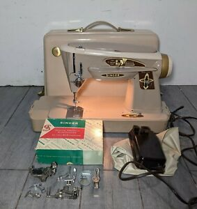 Vintage Singer 503A Slant-O-Matic Rocketeer Sewing Machine w Case & Accessories