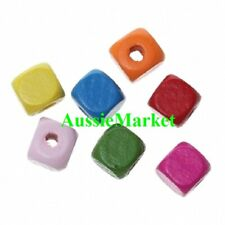 50 x wooden wood painted square cube beads 10mm x 10mm mixed colours big hole
