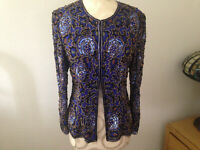 VTG STENAY Blue Black Gold 100% Silk Sequin Beaded Womens Top Size Small