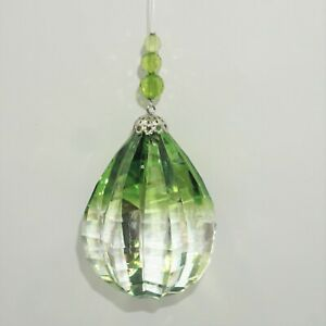 Ganz Crystal Expressions Teardrop Egg Shaped Ball Clear Green Suncatcher NEW