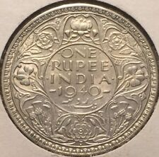 British INDIA 1940 One Rupee Silver Coin-High Grade - Please See Pics