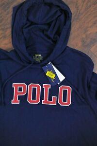 NWT Polo Ralph Lauren LS Lightweight Jersey Logo Hoodie Navy Blue Men's Medium M