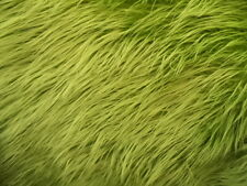 OLIVE FAUX FUR MONGOLIAN FUR LONG PILE HAIR FABRIC BY THE YARD