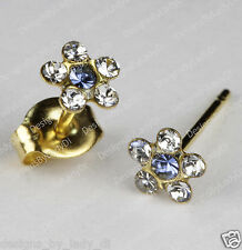 Studex Gold Earrings Tiny Tips Hypoallergenic Clear Crystal 5mm Daisy Blue Ctr
