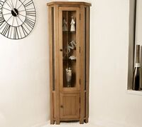 Solid Rustic Oak Corner Display Cabinet Glazed Cupboard Living Room Furniture
