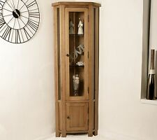 Solid Rustic Oak Corner Display Cabinet Glazed Cupboard Living Room Furniture