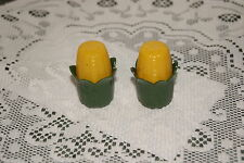 VINTAGE...........  CORN  COB SALT &  PEPPER  SHAKERS..DARK GREEN
