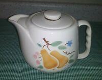 """Vtg Porcelier Pears Vitreous China Teapot Cherries Vines Leaves Flower 9"""" EXC"""