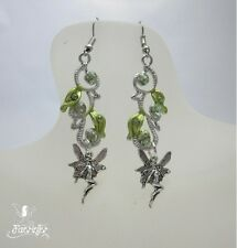 Trailing Fairy Leaf earrings enamel and silver plated faerie jewellery gift
