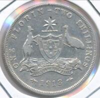 Australia 1913 Florin 2/- George V (Silver) - Fine