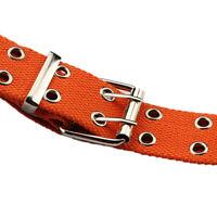 Femmes clouté trou 2 rangée boucle de ceinture en nylon ceinture 130cm