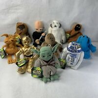 Star Wars 10 pc Set 1997 1998 Buddies Stuffed Plush Beanies Yoda R2D2 Disney NWT