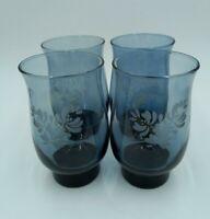 Libbey Pfaltzgraff Blue Yorktowne 14oz Etched Drinking Glasses Tumblers Set of 4