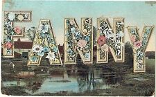 Name Fanny large letters flowers 1917 antique postcard Christian Names Series