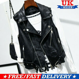 Faux Leather Women Black Waistcoat Gilet Biker Sleeveless Jacket Retro Vest Coat