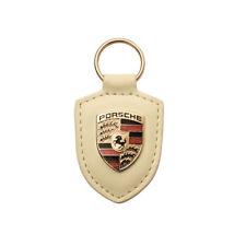 Porsche Crest Car Key Ring Chain Fob White Leather WAP0500960E Genuine New Gift