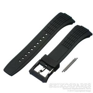 Seiko Watch Strap for Velatura SNAE17P SNAA93P Black Rubber Band w/ Black Buckle
