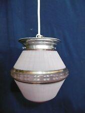 abat jour suspension globe plafonnier art deco art nouveau 1950 rose or ancien