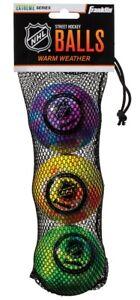 Franklin 3 Pack NHL Low Bounce, Warm Weather Street Hockey Balls - Tie Dye Color