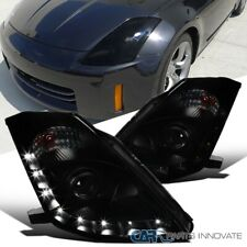 """For 06-09 350Z Z33 Fairlady """"HID Type"""" Black Smoke LED DRL Projector Headlights"""