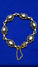 Bracelet 7inch + Safety Chain Vtg/Ornate Filagree Links Gold-Tone 6-Opal Costume