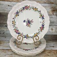 VTG Royal Doulton LEIGHTON Floral Scalloped Dinner Plates D 6164 England Set 4