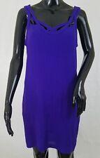 DVF Diane Von Furstenberg Jillian Mini Tank Dress Size 4 100% Silk Purple Cutout