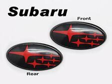 Front & Rear Glossy Red Insert Badge Emblem For 2011-Up Subaru Impreza WRX STI
