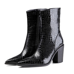 Women Mid Calf Ankle Boots Snakeskin Pattern Block High Heels Pointed Toe Shoes