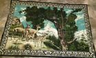 """Vintage Kitsch Tapestry Wall Hanging Deer Family Trees and Mountains 53"""" x 36"""""""