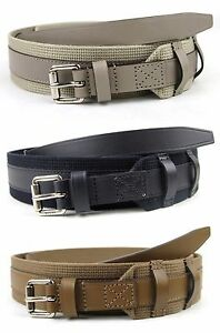New Authentic GUCCI Mens Leather/Fabric Belt with Square Buckle 341744