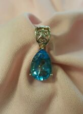 Sterling Silver pear shape blue topaz pendant slide