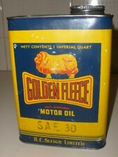 GOLDEN FLEECE ONE QUART OIL TIN - SAE 30- GOOD CONDITION