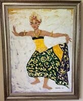 Large Framed Oil Painting of Balinese Dancer done in palette knife