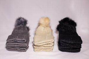 *NEW*  Chunky Knit Faux Fur Warm Lining Pom Pom Unisex Casual Cap Bobble Ski