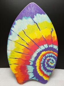 """Skim Lizard Wooden Board 2011 Boogie Surf Tie Dye 30"""" x 19"""" Wooden Rainbow Color"""