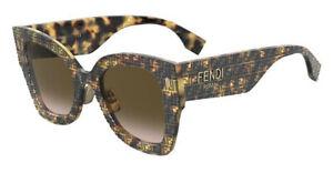 Fendi Roma FF 0434/G/S 2VM Havana Pattern Brown Gradient Lens Sunglasses 51mm