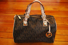 Michael Kors MK Grayson Brown Medium Satchel Purse Speedy