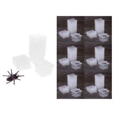 60x Clear Pet Reptile Spider Breeding Feeding Box Container Cage New